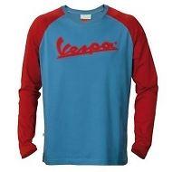 605020m03r damen langarm t shirt logo vespa blau rot. Black Bedroom Furniture Sets. Home Design Ideas